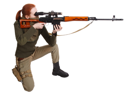 woman sniper with SVD sniper rifle isolated on white background Фото со стока