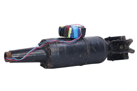 IED (improvised explosive device) with 125mm USSR Tank HEAT Projectile isolated on white background