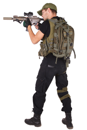 Private military contractor - rifleman with assault rifle isolated on white Foto de archivo
