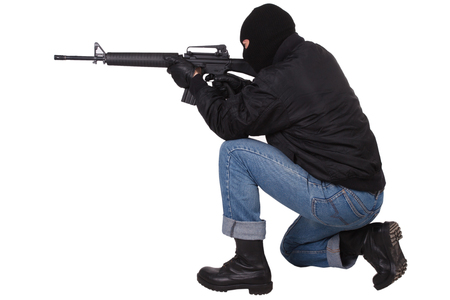 Gangster with M16 rifle isolated on white background Foto de archivo