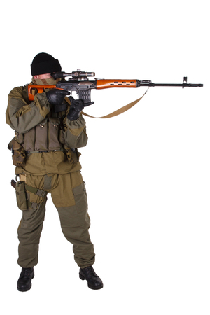 sniper with SVD sniper rifle isolated on white background
