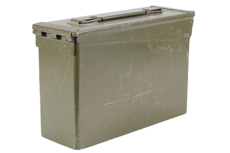 US Army Green Ammo Box isolated on white background Imagens
