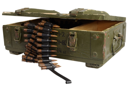 soviet army box of ammunition isolated