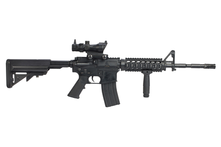 M4 Carbine with ACOG optic and a foregrip isolated on a white background