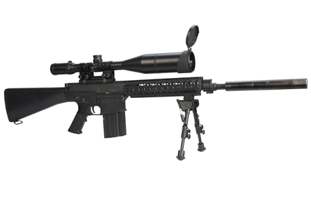sniper rifle with bipod and supressor isolated on a white background