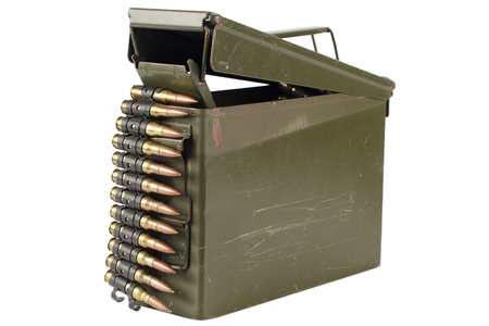 .30 Cal Metal Ammo Can with ammunition belt isolated on white 写真素材