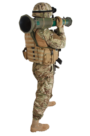US ARMY soldier with recoilless rocket launcher isolated on white background Stock Photo