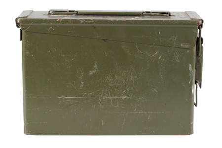 .30 Cal Metal Ammo Can isolated on white