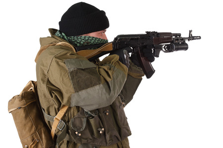 fighter with ak rifle with under-barrel grenade launcher isolated on white background