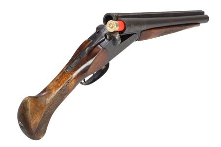 Illegal weapon - sawn off shotgun isolated on white background Stock fotó