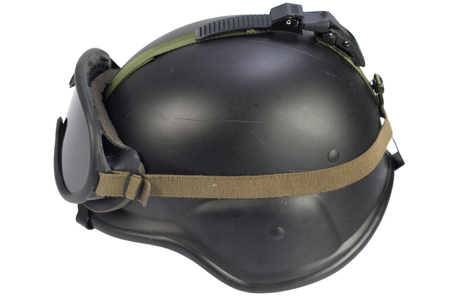 us army helmet with protective goggles isolated