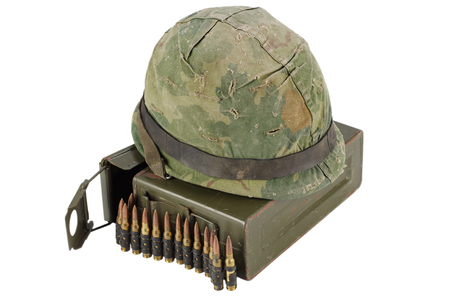 .30 Cal Metal Ammo Can with ammunition belt and helmet isolated on white Stock Photo - 105667528