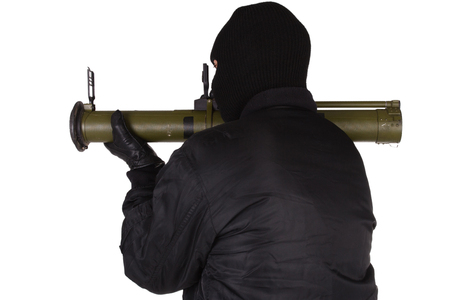 Gangster with bazooka grenade launcher isolated on white background