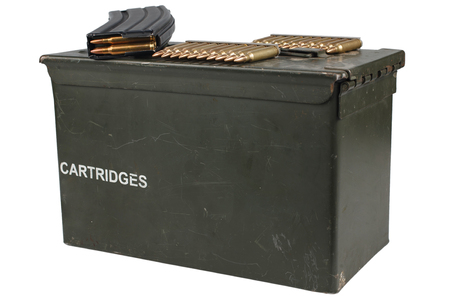 Ammo Can with ammunition belt isolated Stock Photo