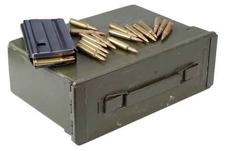 Ammo can with ammunition isolated on white 写真素材