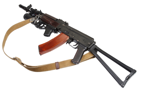 AK with under-barrel grenade launcher isolated on white Imagens