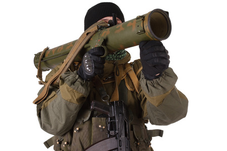 fighter with RPG rocket launcher isolated on white Stock Photo