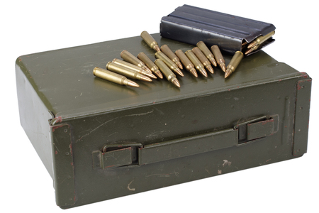 Ammo can with ammunition isolated on white Stock Photo