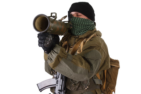 fighter with RPG rocket launcher isolated on white Imagens