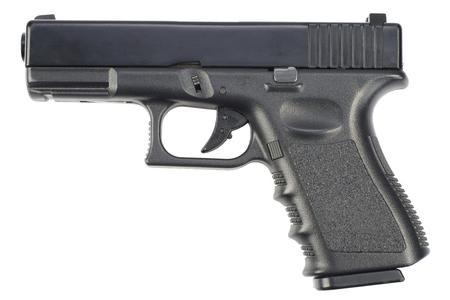 semi automatic 9x19 handgun isolated on white background