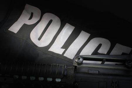 Police equipment on black background Stok Fotoğraf