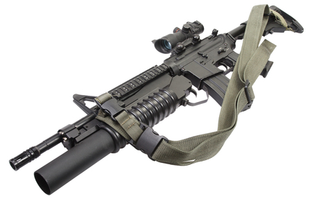 M4 carbine equipped with M203 grenade launcher isolated on white background