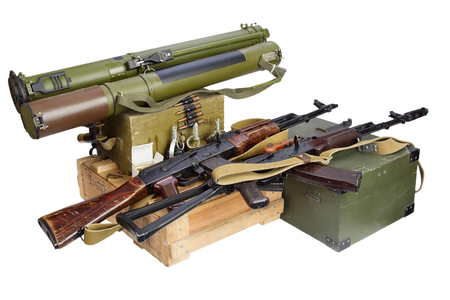 illegal arms trade - weapon isolated on white Stock Photo
