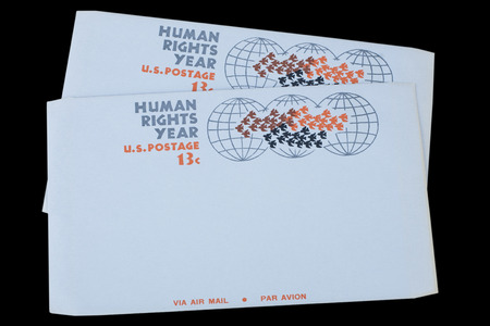 UNITED STATES OF AMERICA - CIRCA 1968: A old envelope for US Air Mail