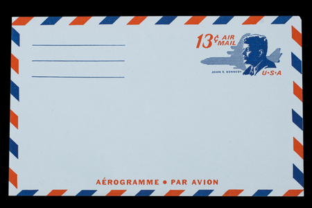 UNITED STATES OF AMERICA - CIRCA 1968: A old envelope for US Air Mail with a portrait of John F. Kennedy