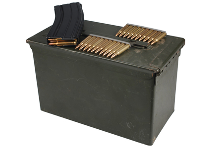 Ammo Can with ammo isolated on white background