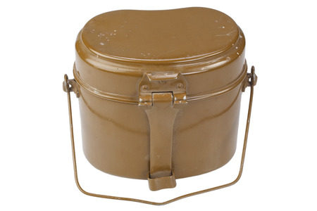 Soviet Army mess kit on white background