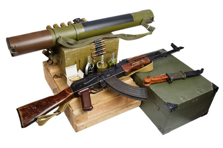 illegal arms trade - weapon isolated on white Imagens