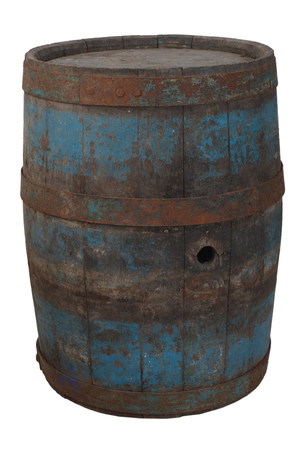 old rusty wooden barrel isolated