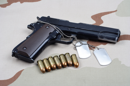 Colt government 1911 with U.S. ARMY uniform background