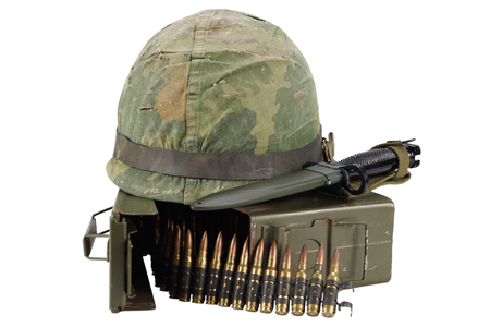 Green Ammo Box with ammunition belt and helmet isolated on white background Reklamní fotografie