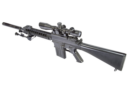 semi automatic sniper rifle with bipod and silencer isolated on a white background Stok Fotoğraf
