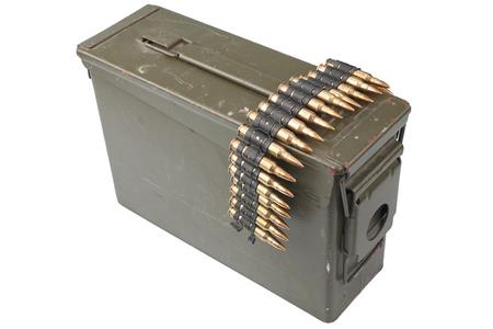 US Army Ammo Box with ammunition belt isolated on white background