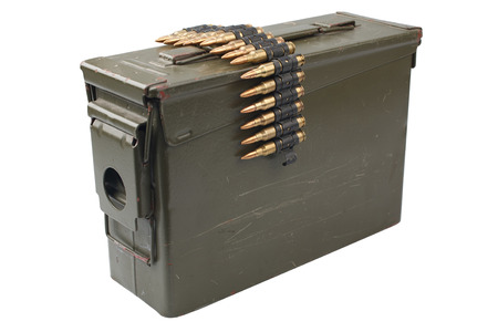 US Army Ammo Box with ammunition belt isolated on white background 写真素材