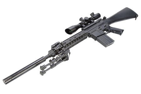 semi automatic sniper rifle with bipod and silencer isolated on a white background Stock Photo