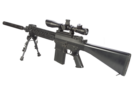 semi automatic sniper rifle with bipod and silencer isolated on a white background