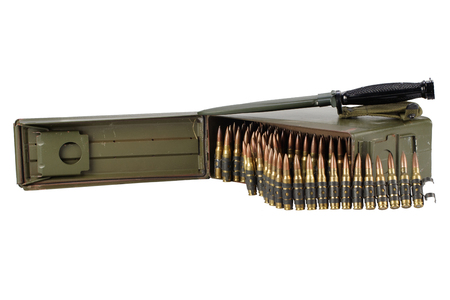 .30 Cal Metal Ammo Can with ammunition belt isolated on white Reklamní fotografie