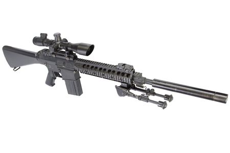 semi automatic sniper rifle with bipod and silencer isolated on a white background Stock fotó