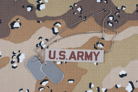 US ARMY desert uniform with dog tags