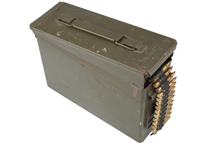 US Army Ammo Box with ammunition belt isolated on white background Archivio Fotografico