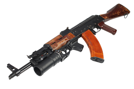 AK 47 with underbarrel grenade launcher isolated on white