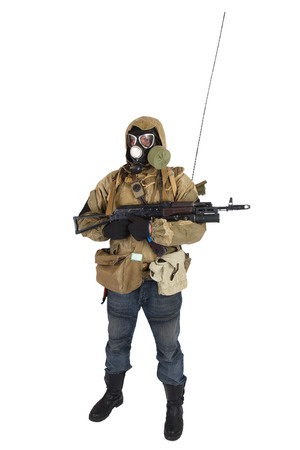 Post-apocalyptic fiction concept - stalker in gas mask with ak-47 gun isolated on white