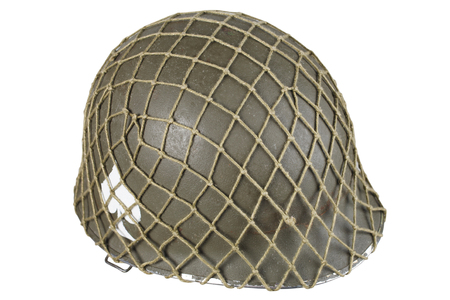 us army ww2 period helmet with ace of spades emblem isolated on white background