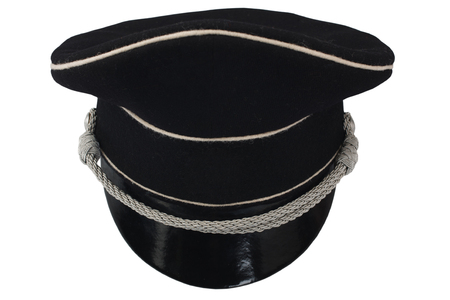 black forage cap with silver cord isolated on white Imagens
