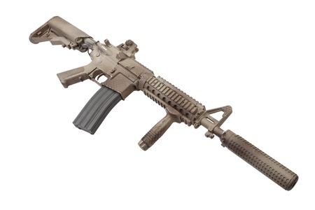 M4 with suppressor  - special forces rifle isolated on a white background 版權商用圖片 - 123861306