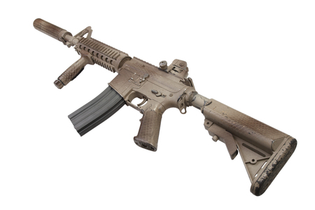 M4 with suppressor  - special forces rifle isolated on a white background 版權商用圖片 - 123861335